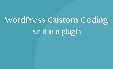 Wordpress Custom Coding - Put it in a plugin