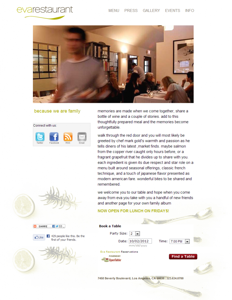 Restaurant LA design website