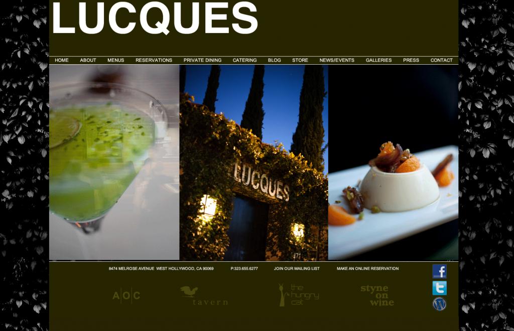 Lacques Restaurant LA Website Design